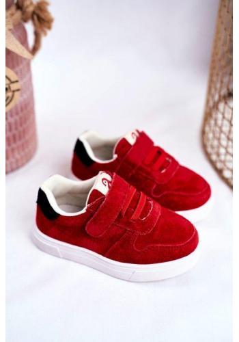 Dětské červené tenisky pro děti s černým detailem