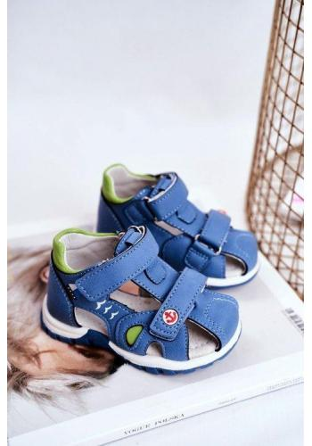 Sandály pro chlapce v modré barvě na suchý zip