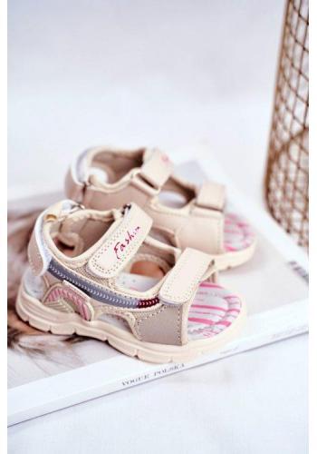 Dívčí béžové sandály na suchý zip