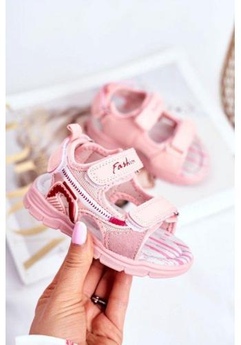Růžové sandály na suchý zip pro dívky