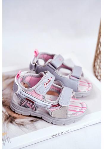 Sandály pro dívky na suchý zip v šedé barvě