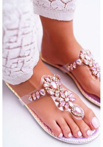Růžové duhové žabky s krystaly pro dámy