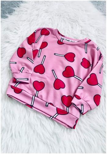 Růžový dívčí komplet mikiny a tepláků s potiskem - LOLLIPOP