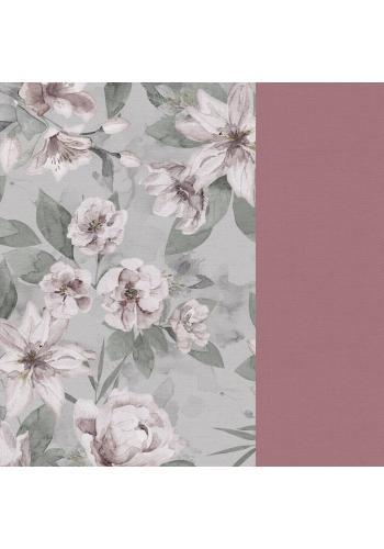 Starorůžový sametový polštář s ušima s vintage květy