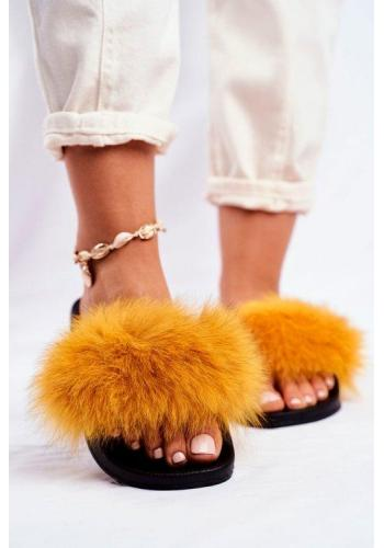 Žluté stylové dámské pantofle s kožešinou