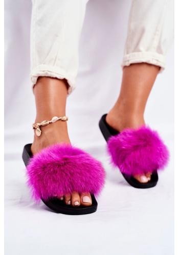 Stylové dámské pantofle s kožešinou v barvě fuchsie