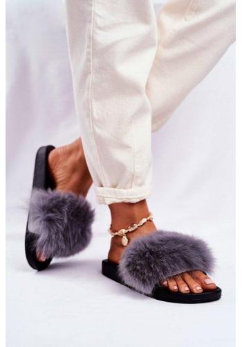 Dámské módní pantofle s kožešinou v šedé barvě