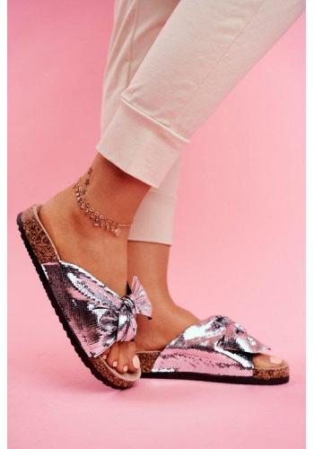 Stříbrné metalické pantofle s mašlí pro dámy