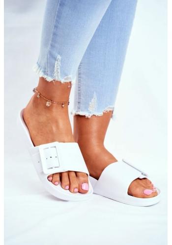 Gumové klasické dámské pantofle Big Star v bílé barvě