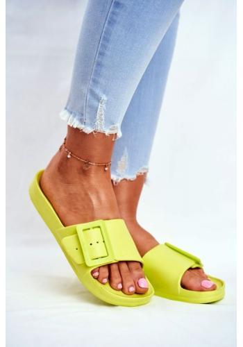 Zelené dámské pantofle Big Star s hrubou přezkou