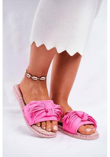 Módní růžové dámské pantofle s mašlí