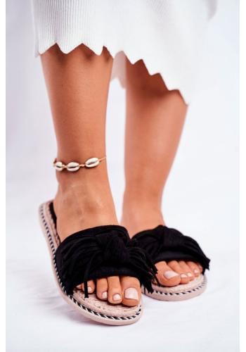 Černé stylové dámské pantofle zdobené mašlí