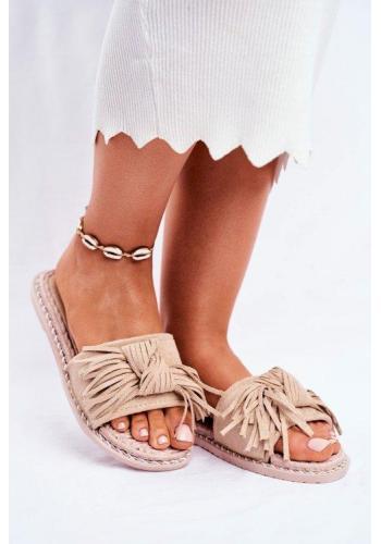 Dámské módní pantofle zdobené mašlí v béžové barvě