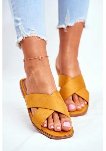 Žluté elegantní dámské pantofle s pruhy
