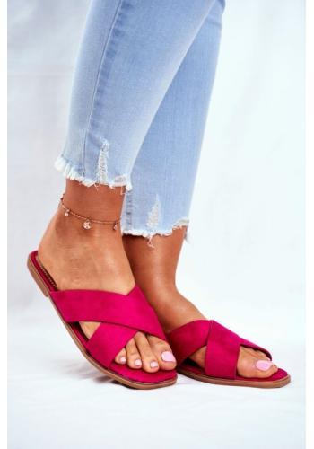Stylové dámské pantofle s pruhy v barvě fuchsie