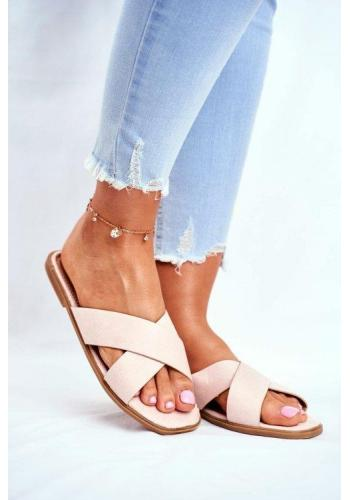 Béžové módní pantofle s pruhy pro dámy