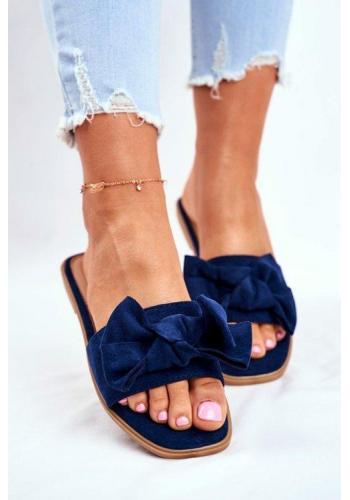 Tmavě modré dámské pantofle s mašlí
