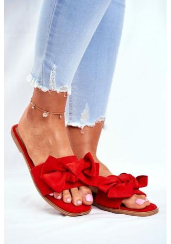 Módní červené dámské pantofle s mašlí