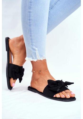 Černé elegantní dámské pantofle s mašlí