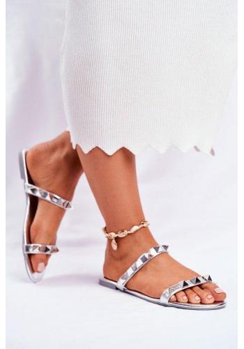 Stříbrné dámské vybíjeny pantofle