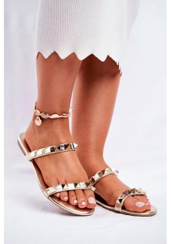 Stylové dámské vybíjeny pantofle ve zlaté barvě
