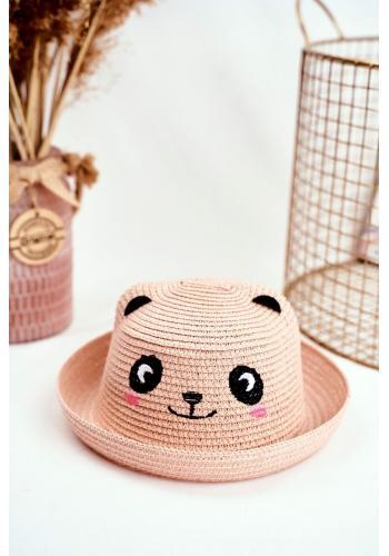 Plážový dětský klobouk růžové barvy s pandou