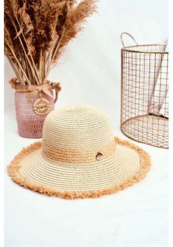 Dámský plážový klobouk se zdobeným kruhem v béžové barvě