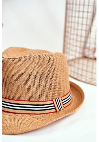 Dámský módní klobouk s barevným páskem v hnědé barvě