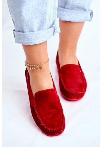 Červené elegantní mokasíny pro dámy