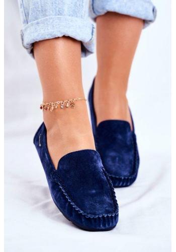 Modré stylové mokasíny pro dámy