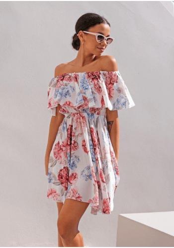 Romantické krátké šaty s květinovým motivem přes ramena s ozdobným volánem