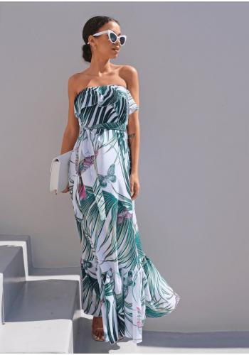 Maxi šaty s letním vzorem s odhalenými rameny