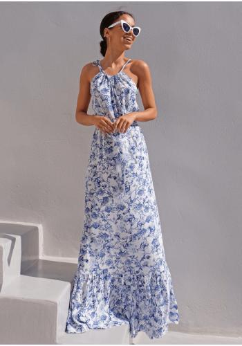 Stylové dlouhé šaty s vázáním kolo krku v bílo-modréfarbe