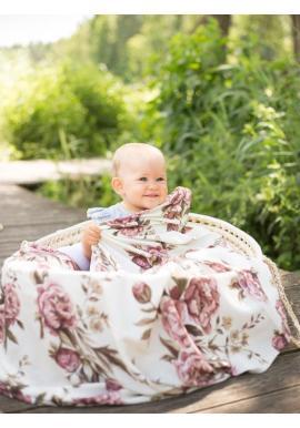 Letní bambusová deka pro miminka - Vintage pivoňky (polštář grátis)