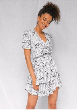 Dámské krátké šaty s volánky na sukni ve smetanové barvě
