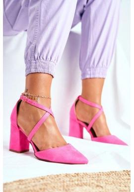 Růžové špičaté lodičky na širokém podpatku pro dámy