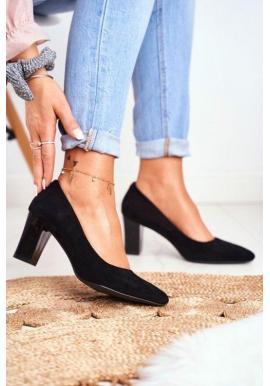 Černé semišové lodičky na stabilním podpatku pro dámy