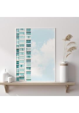 Plakát s motivem architektury v odstínech modré