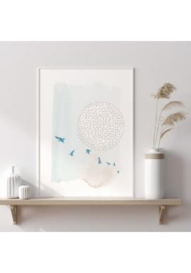 Plakát s abstraktním motivem v odstínech modré a bílé
