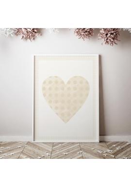 Plakát s béžovým srdcem ve vintage stylu