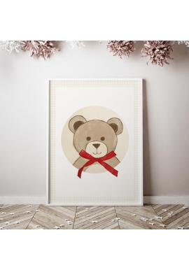Plakát s motivem medvěda s mašlí