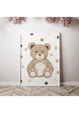 Plakát s motivem medvěda s kuličkami na pozadí