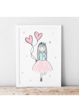 Dětský plakát s motivem veselého děvčátka v pastelových barvách
