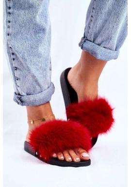 Červené pantofle s přírodní kožešinou pro dámy