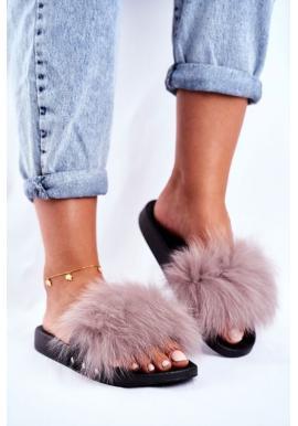 Světlešedé dámské pantofle s přírodní kožešinou