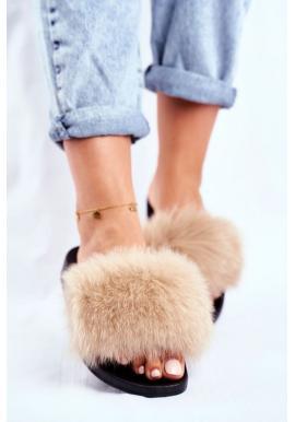 Dámské béžové pantofle s přírodní kožešinou