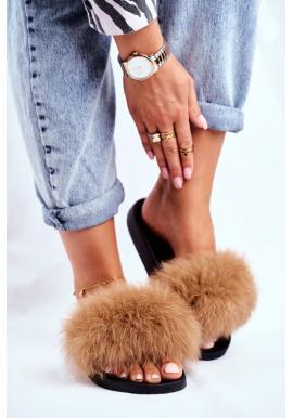 Hnědé pantofle s přírodní kožešinou pro dámy