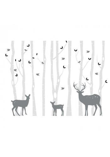 Lesní sada nálepek s břízami a srnčí
