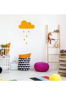 Nálepka s motivem oblaku s kapkami v pastelových barvách