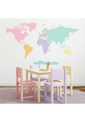 Nálepka v podobě mapy světa v pastelových barvách